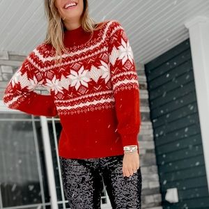 Red and white fair isle sweater